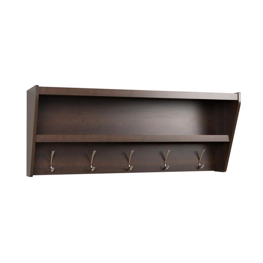 Prepac Floating Entryway Shelf Amp Coat Rack In Espresso