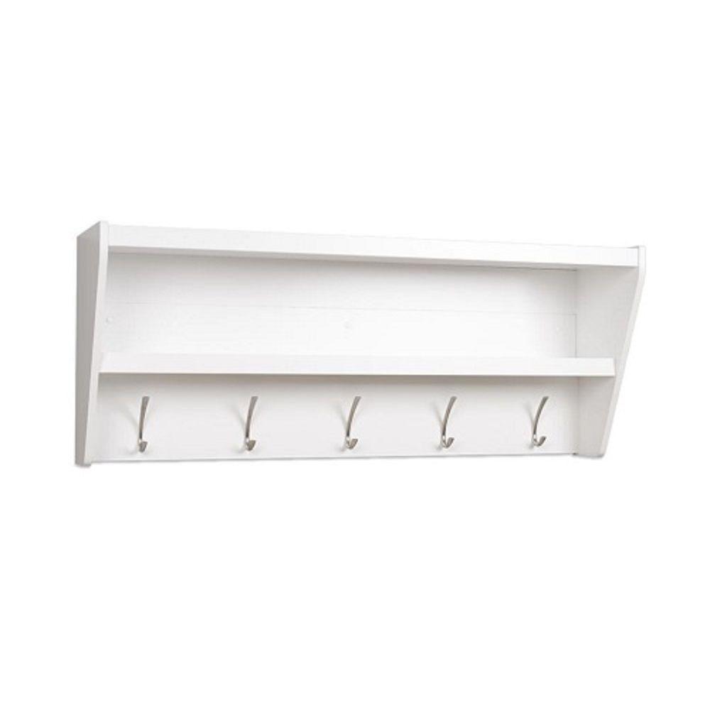 prepac floating entryway shelf coat rack in white the. Black Bedroom Furniture Sets. Home Design Ideas