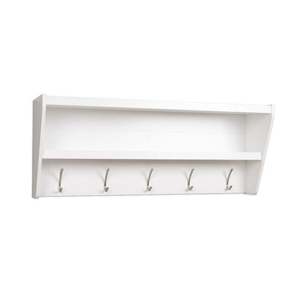 Prepac Floating Entryway Shelf & Coat Rack In White