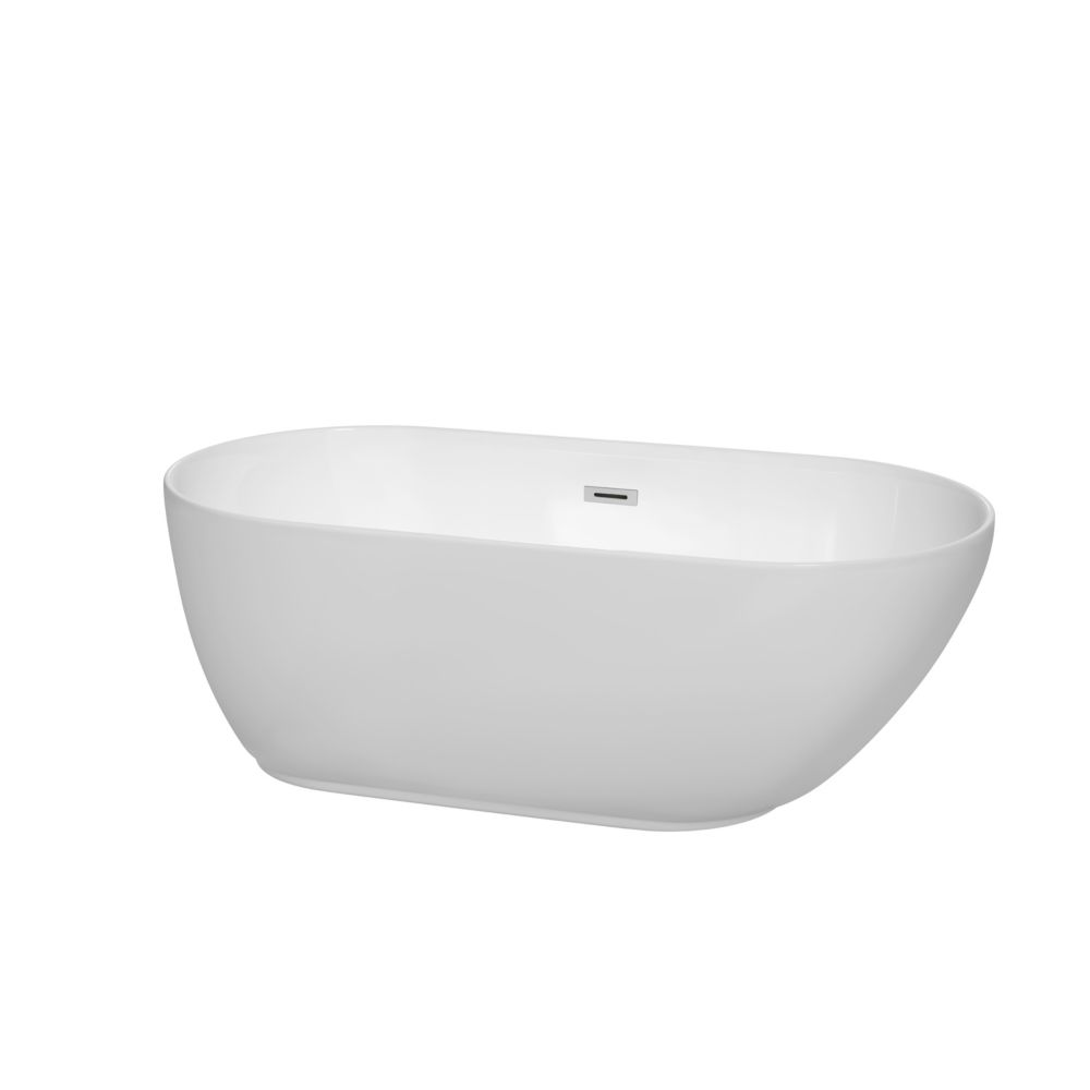 Melissa 5 Feet Freestanding Soaker Bathtub in White with Chrome Trim