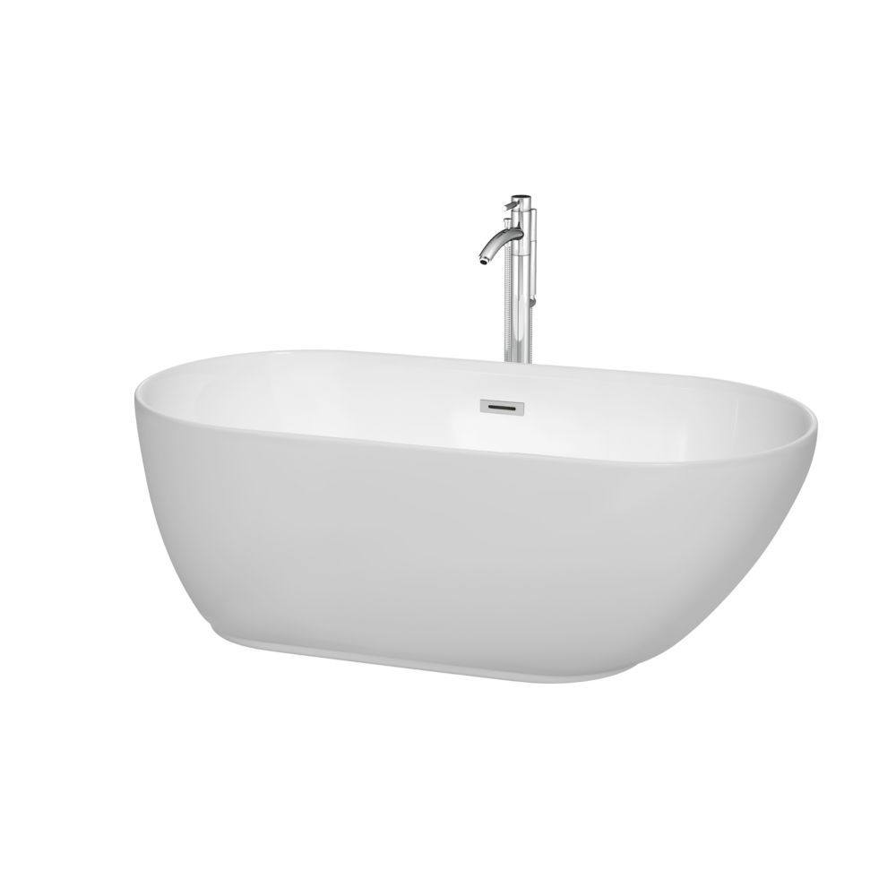Wyndham Collection Melissa 60-inch Acrylic Centre Drain Soaking Tub in White with Polished Chrome Floor Mounted Faucet