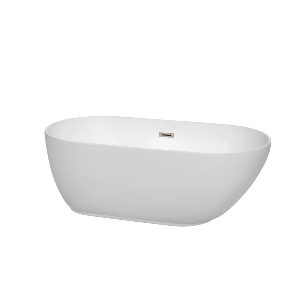 Wyndham Collection Melissa 5 Feet Freestanding Soaker Bathtub In White With B