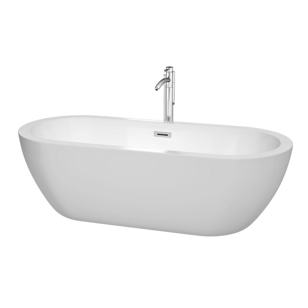 Soho 5,58 pi Baignoire blanche à bonde centrale, robinetterie et robinet fixé au sol en chrome
