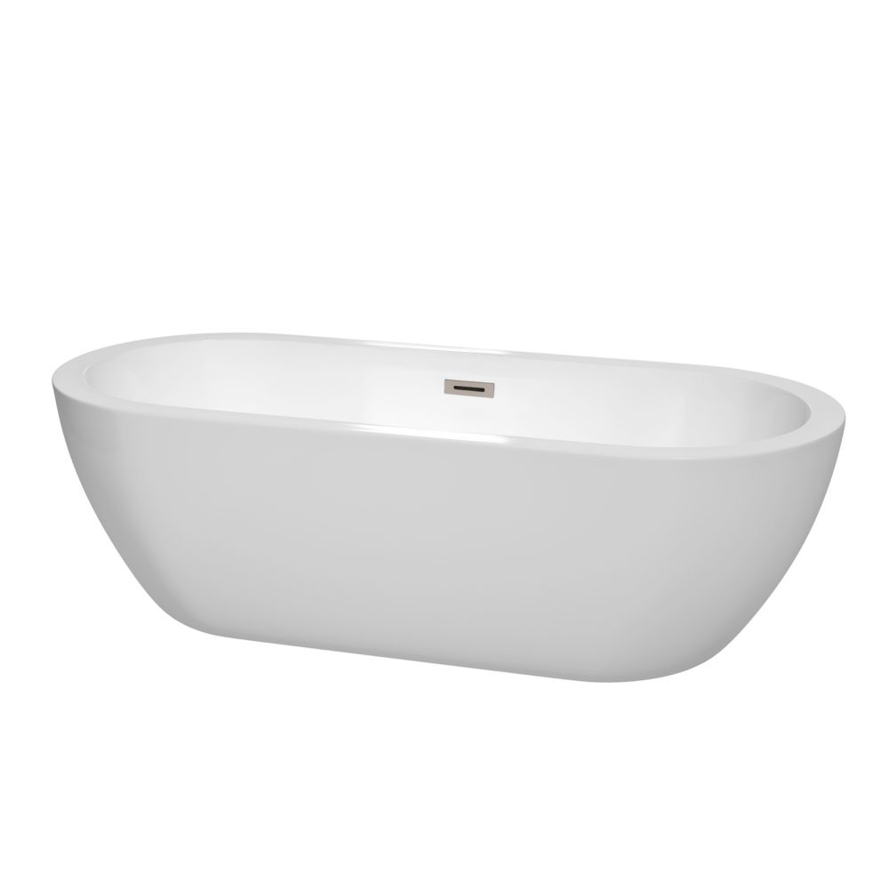 Soho 6 Feet Acrylic Freestanding Flatbottom Non Whirlpool Bathtub in White