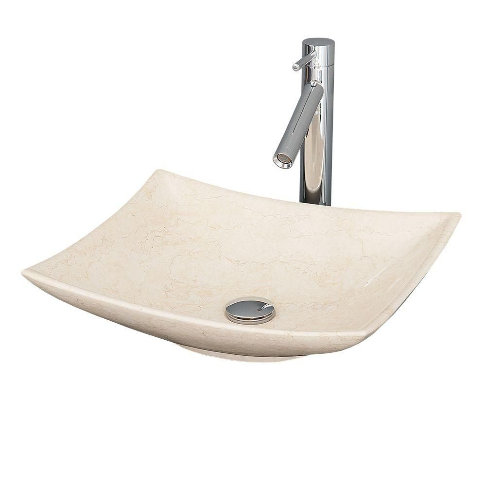 Arista Vessel Sink in Ivory Marble