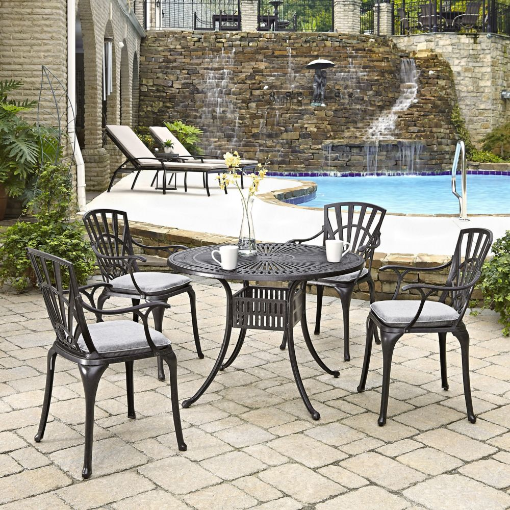 Home Styles Largo 5-Piece 42-inch Dining Set with Cushioned Arm Chairs in Charcoal