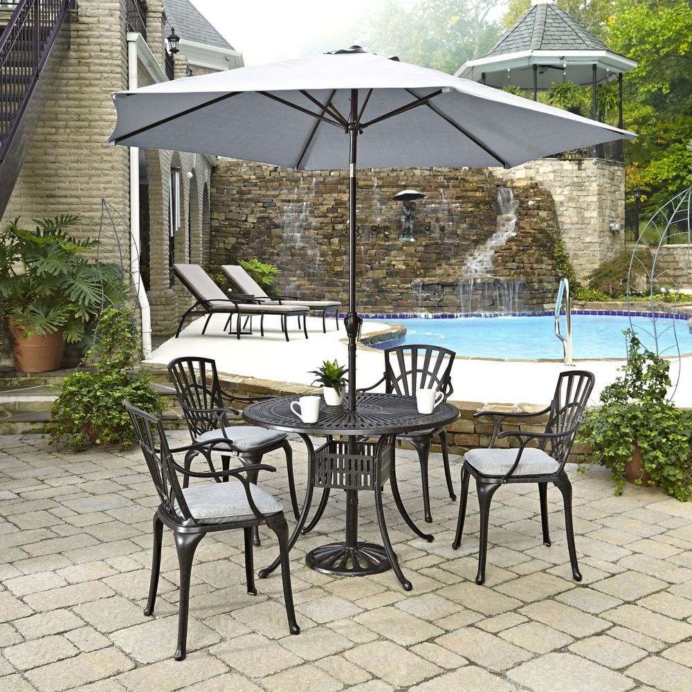 Home Styles Largo 5 Piece Patio Dining Set With Umbrella And Cushions The H