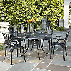 Largo 5-Piece Charcoal 48-inch Dining Set with Arm Chairs
