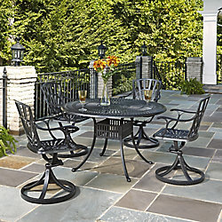 Home Styles Largo 5-Piece 48-inch Dining Set with Swivel Chairs in Charcoal