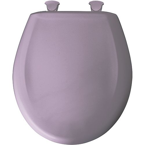Bemis Round Plastic Toilet Seat with Whisper Close and Easy Clean & Change Hinge in Lilac