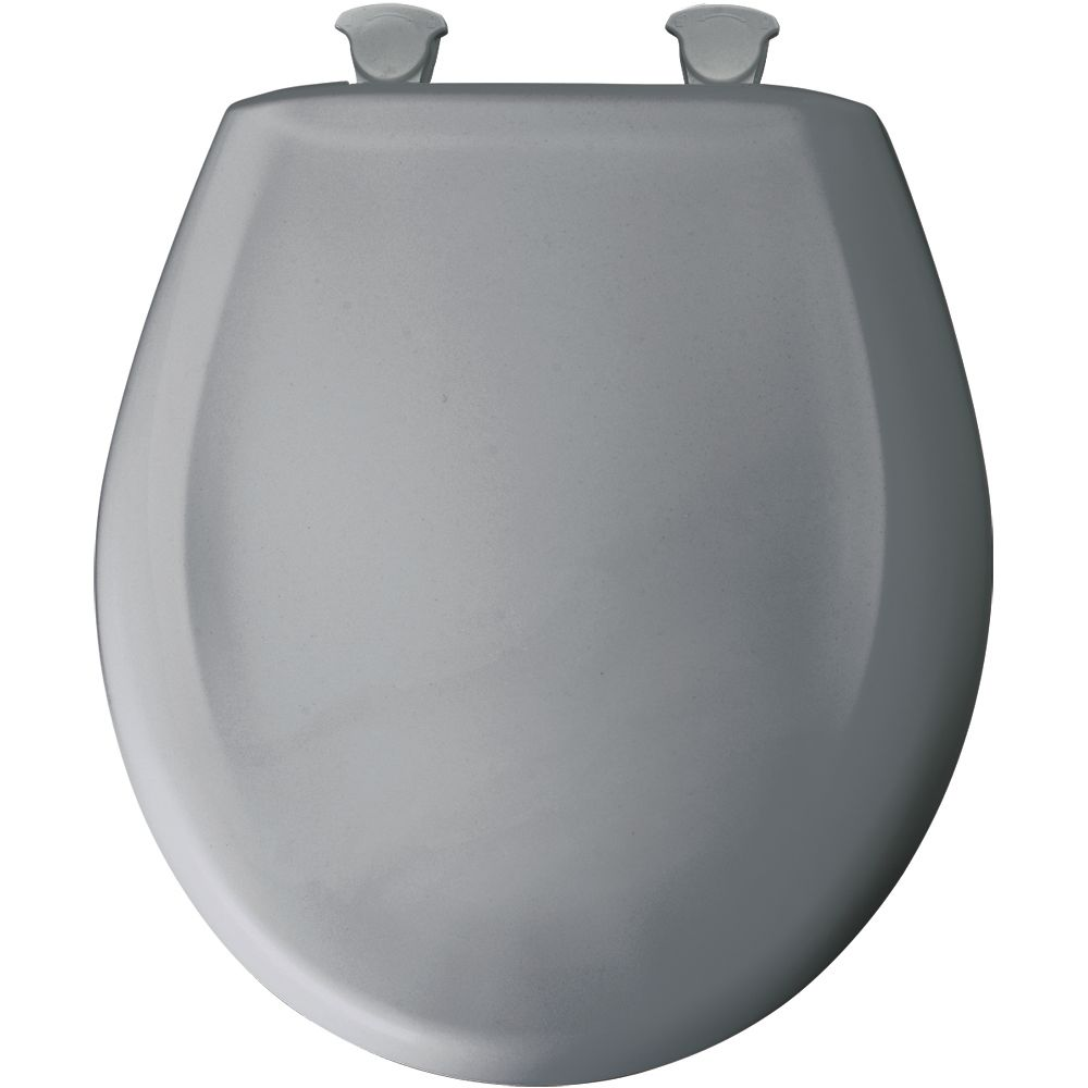 Round Plastic Toilet Seat with Whisper Close and Easy Clean & Change Hinge in Country Grey