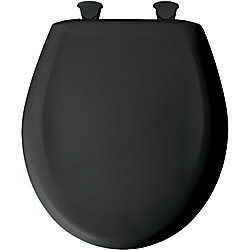 Bemis Round Plastic Toilet Seat with Whisper Close and Easy Clean & Change Hinge in Black