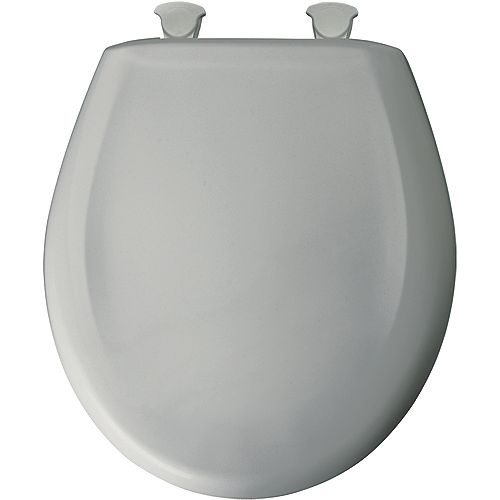 Bemis Round Plastic Toilet Seat with Whisper Close and Easy Clean & Change Hinge in Ice Grey