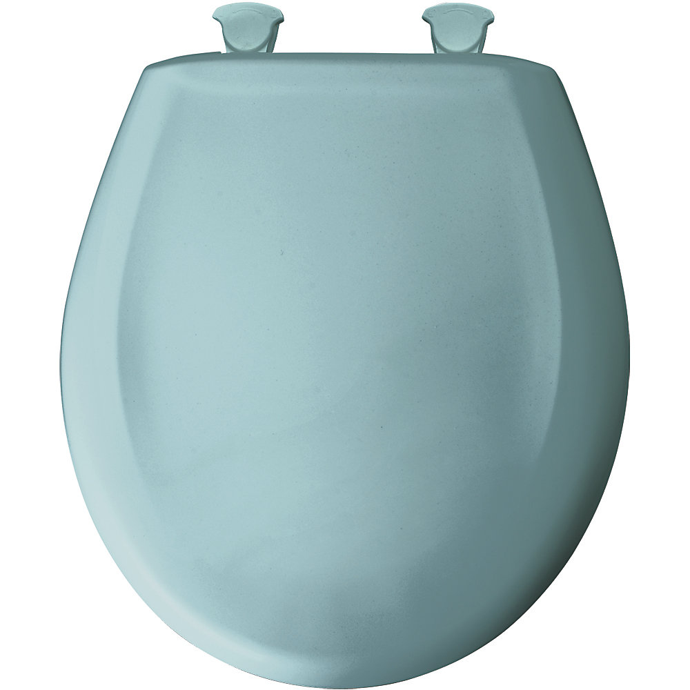 Round Plastic Toilet Seat with Whisper Close and Easy Clean & Change Hinge in Blue