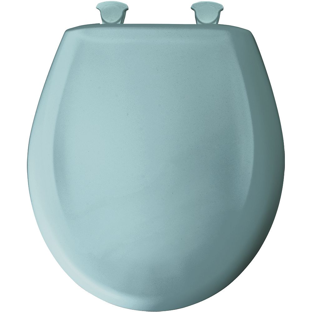 Bemis Round Plastic Toilet Seat with Whisper Close and Easy Clean & Change Hinge in Blue