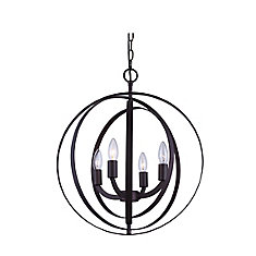 4-Light 60W Oil-Rubbed Bronze Sphere Pendant with Concentric Metal Rings
