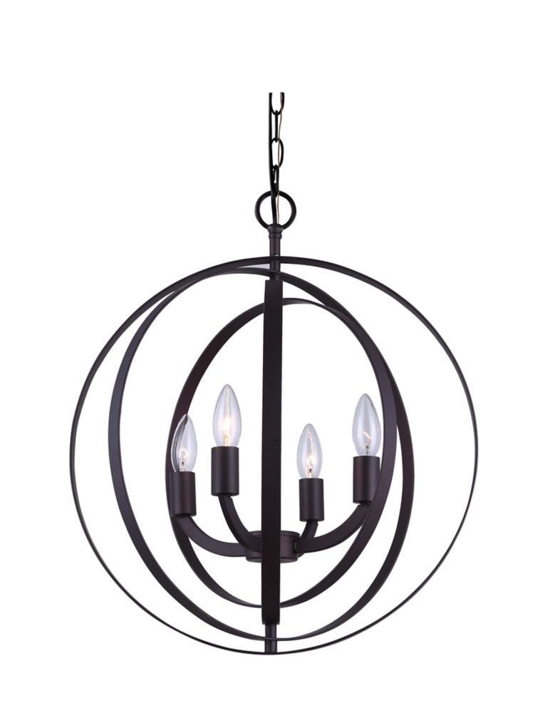 Home Decorators Collection 4-Light 60W Oil-Rubbed Bronze Sphere Pendant with Concentric Metal Rings
