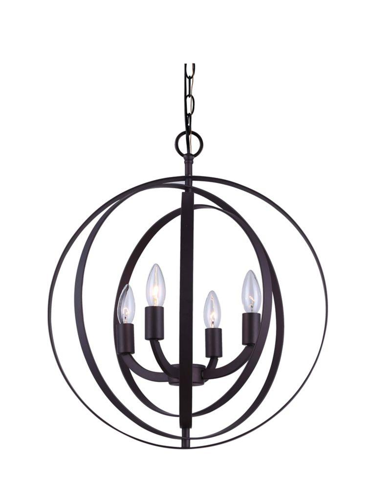 4-Light Sphere Chandelier in Oil-Rubbed Bronze