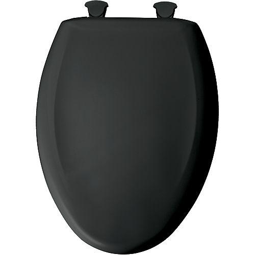 Bemis Siège de Toilette Allongé en Plastique avec charnière Whisper,Close avec Easy,Clean & Change et STA-TITE - Noir