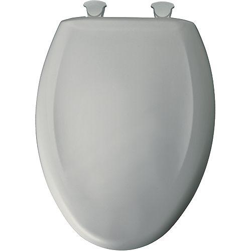 Bemis Siège de Toilette Allongé en Plastique avec charnière Whisper,Close avec Easy,Clean & Change et STA-TITE - Gris glace