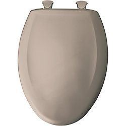 Bemis Elongated Closed Front Toilet Seat in Fawn Beige with Easy Clean and Change Hinge