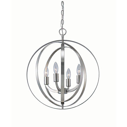 4-Light 60W Brushed Nickel Sphere Pendant with Concentric Metal Rings