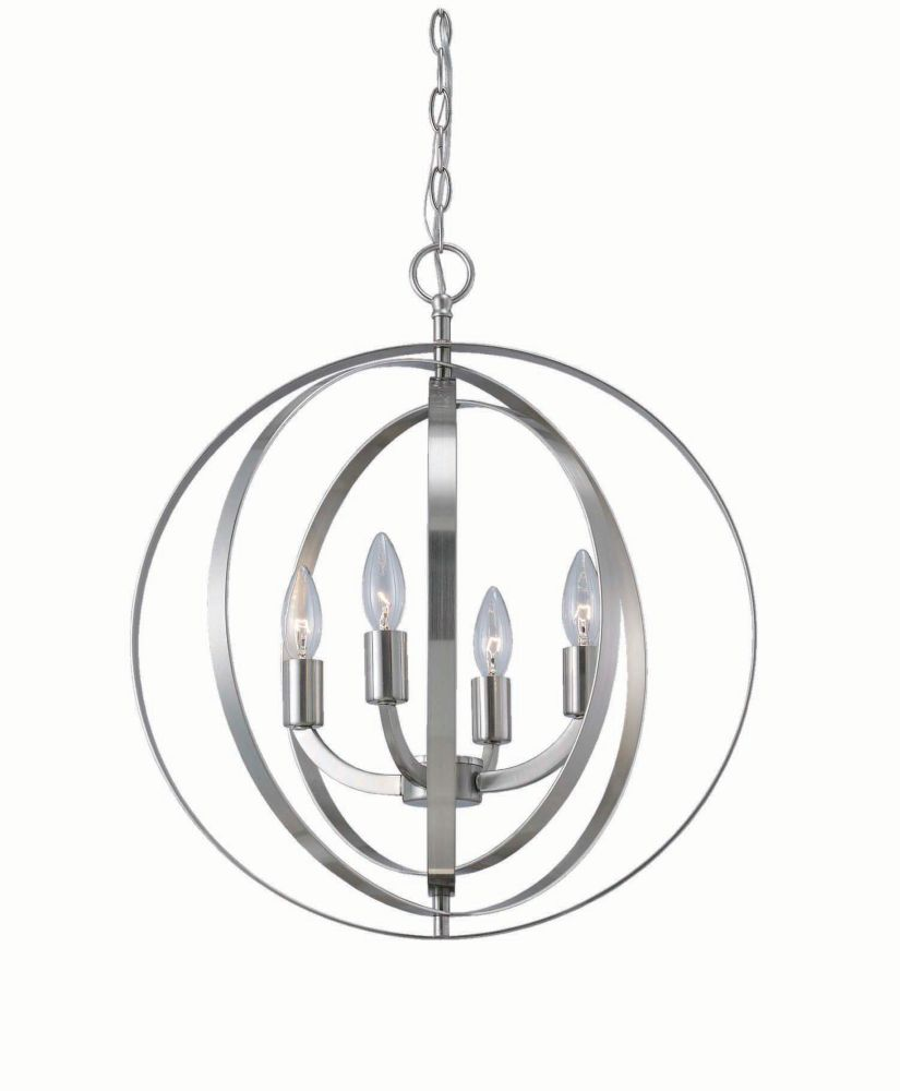 Home Decorators Collection 4 light brushed nickel sphere