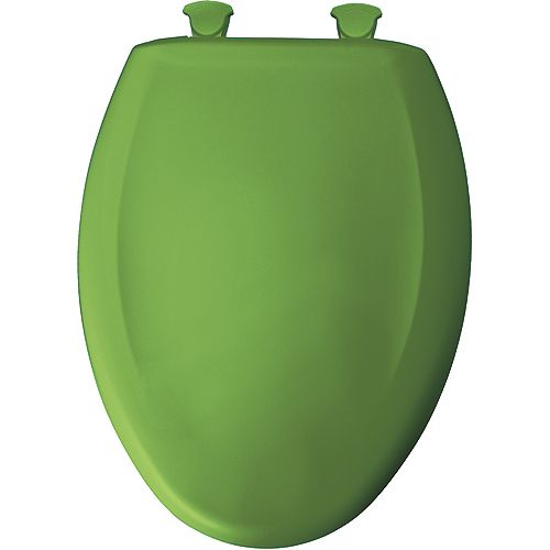 Bemis Elongated Closed Front Toilet Seat in Fresh Green with Easy Clean and Change Hinge