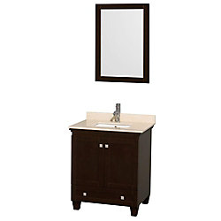 Wyndham Collection Acclaim 30-inch W 1-Drawer 2-Door Vanity in Brown With Marble Top in Beige Tan With Mirror