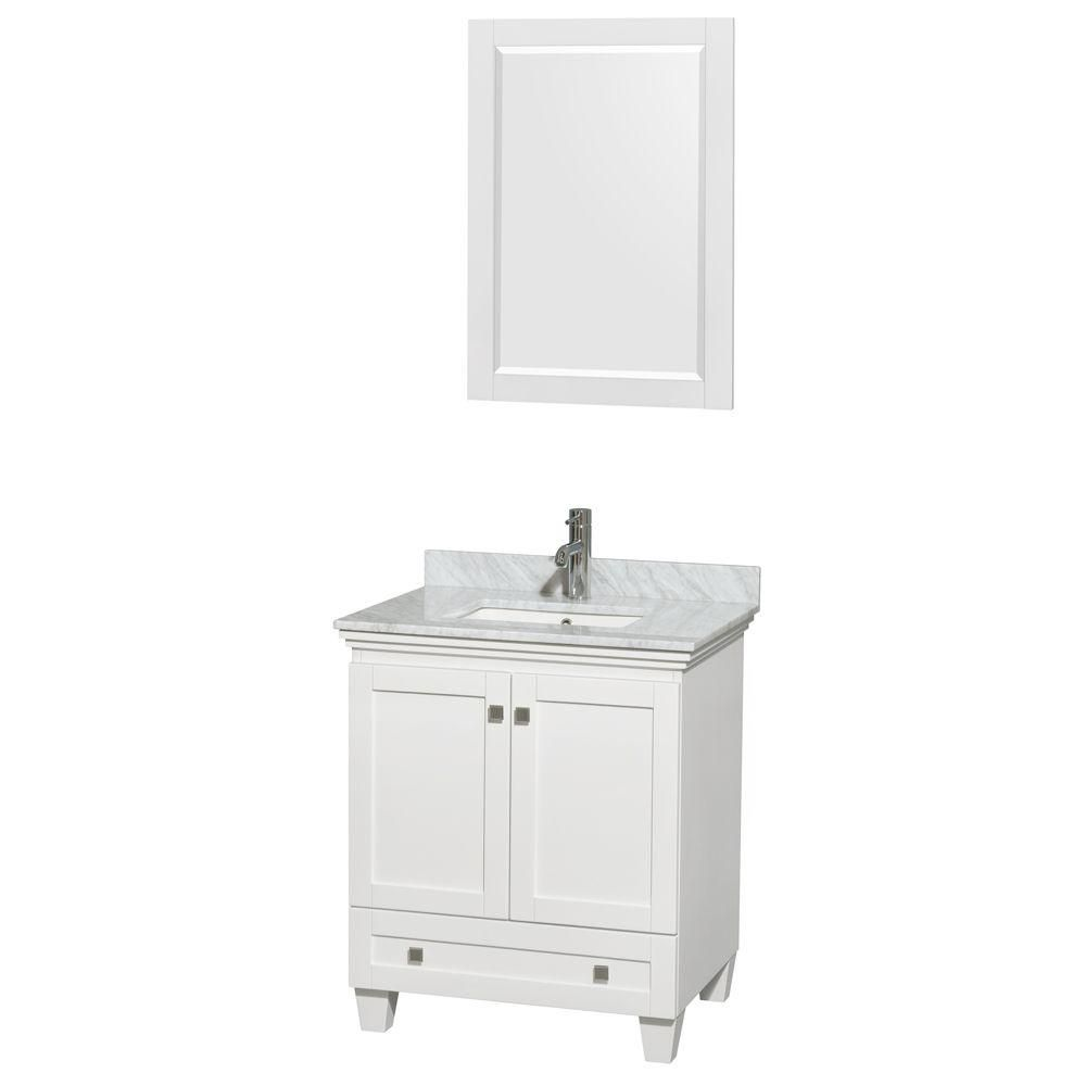 Wyndham Collection Acclaim 30-inch W 1-Drawer 2-Door Freestanding Vanity in White With Marble Top in White With Mirror