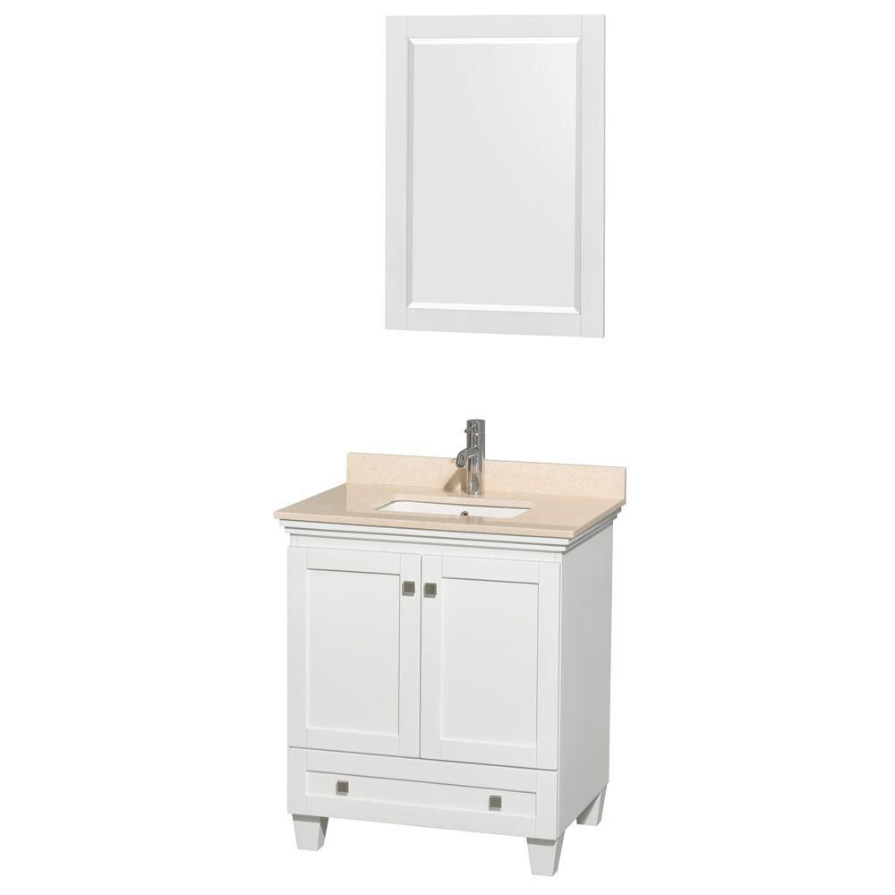 Wyndham Collection Acclaim 30-inch W 1-Drawer 2-Door Vanity in White With Marble Top in Beige Tan With Mirror