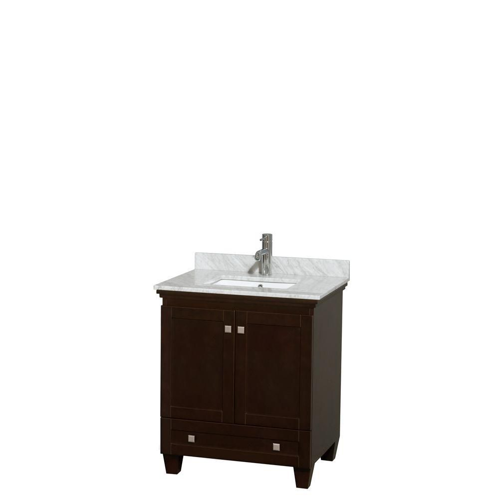 Acclaim 30-inch W Vanity in Espresso with Top in White Carrara and Undermount Basin