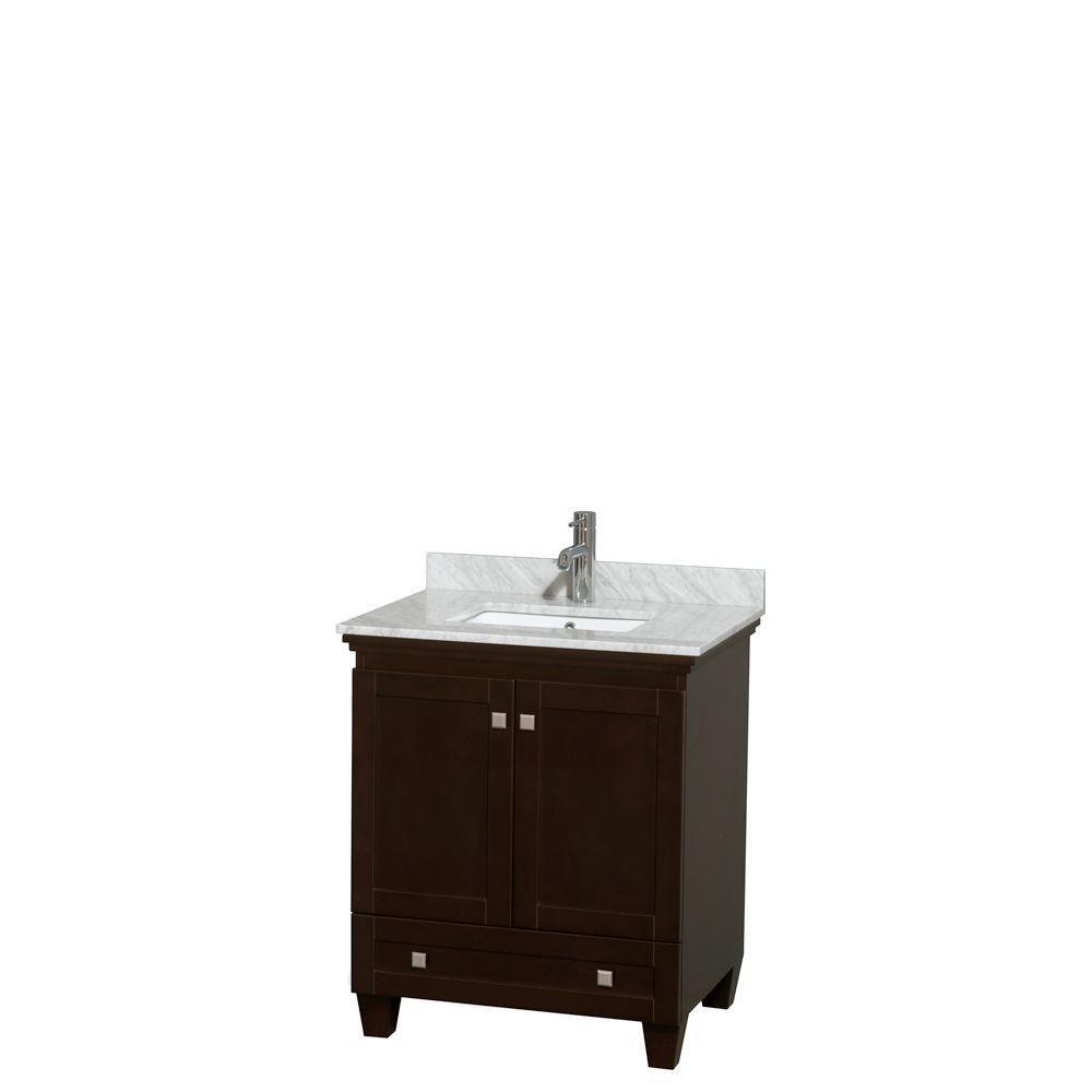 Acclaim 30 po. Meuble simple espresso, comptoir blanc Carrare, lavabo encastré sans miroir