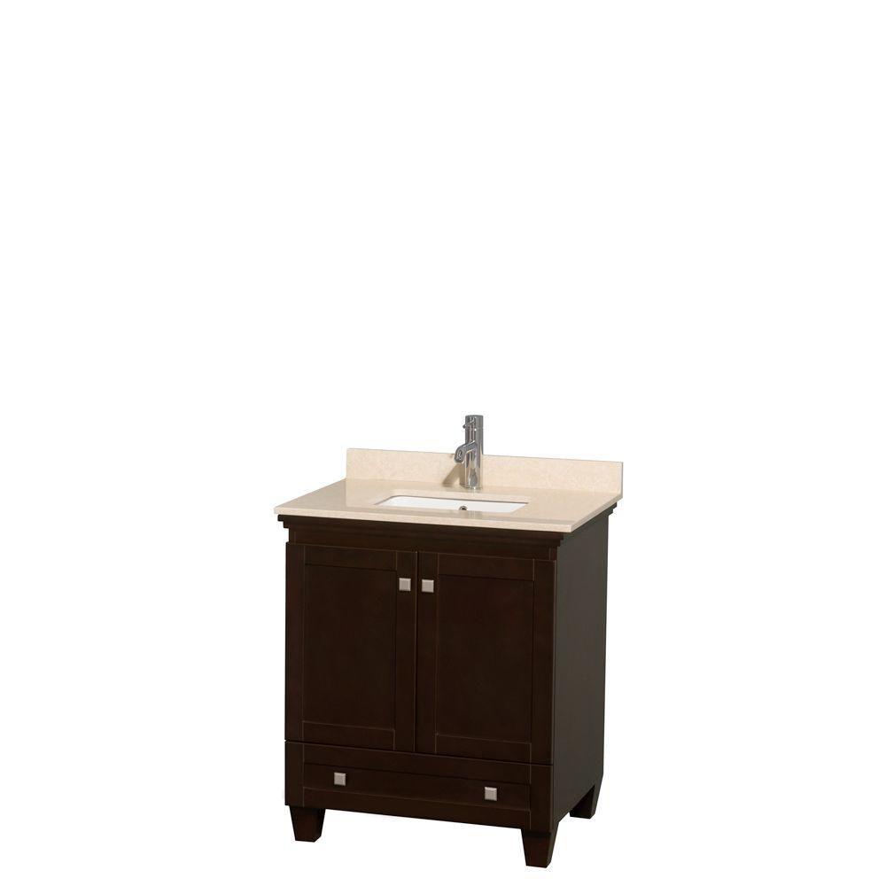 Acclaim 30 po. Meuble simple espresso, comptoir marbre ivoire, lavabo encastré sans miroir