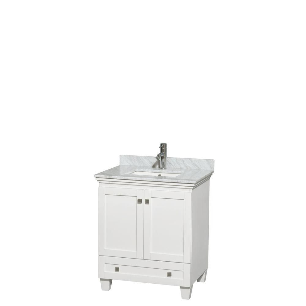 Acclaim 30-inch W Vanity in White with Top in White Carrara and Undermount Basin