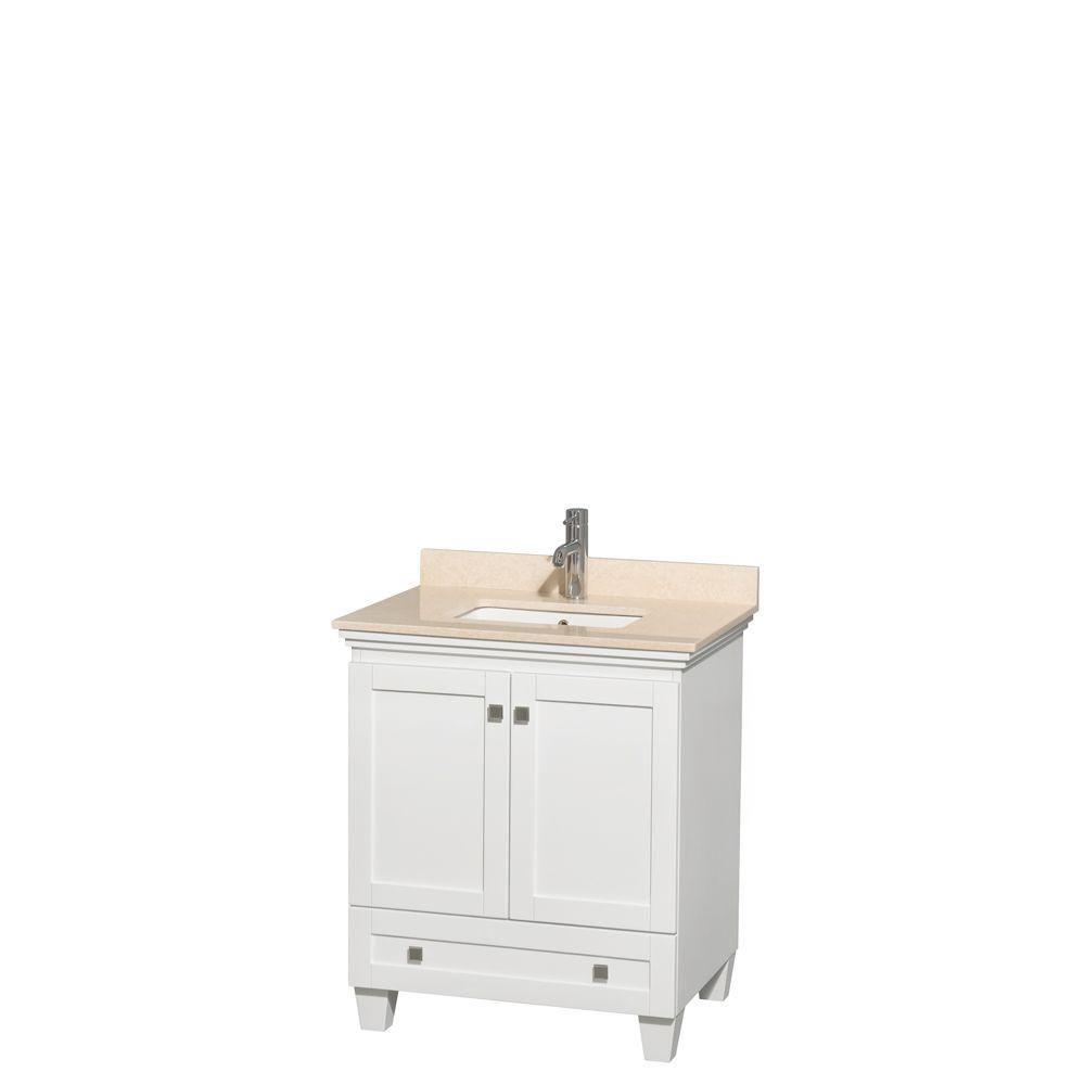 Acclaim 30 po. Meuble simple blanc, comptoir marbre ivoire, lavabo encastré sans miroir