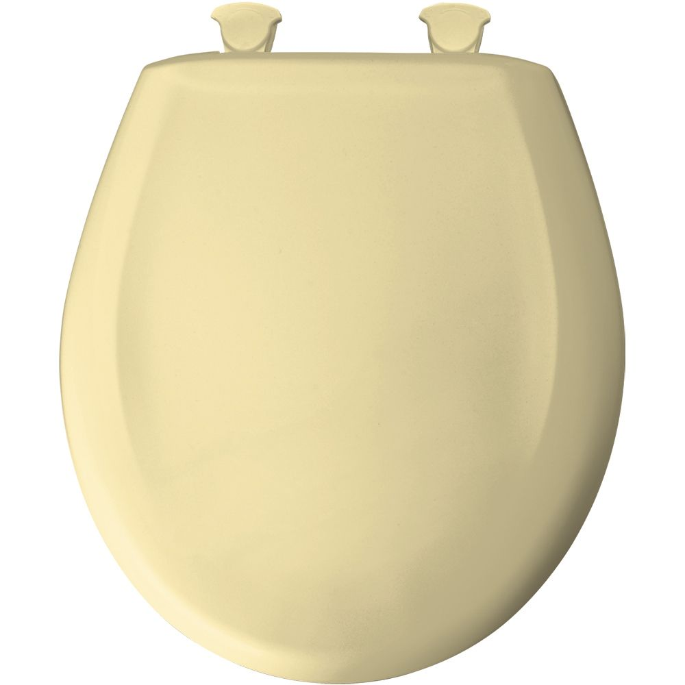 Bemis Round Plastic Toilet Seat with Whisper Close and Easy Clean & Change Hinge in Sunlight
