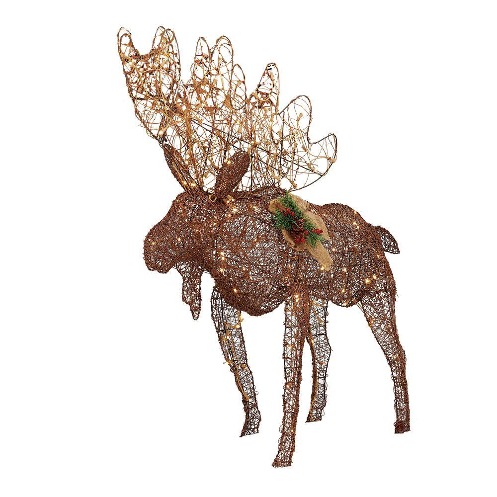 4 Feet 175 LED Twinkling Grapevine Moose