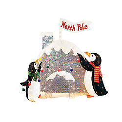 Home Accents Holiday 4 ft 200L Lighted Tinsel and Acrylic Penguins and Igloo