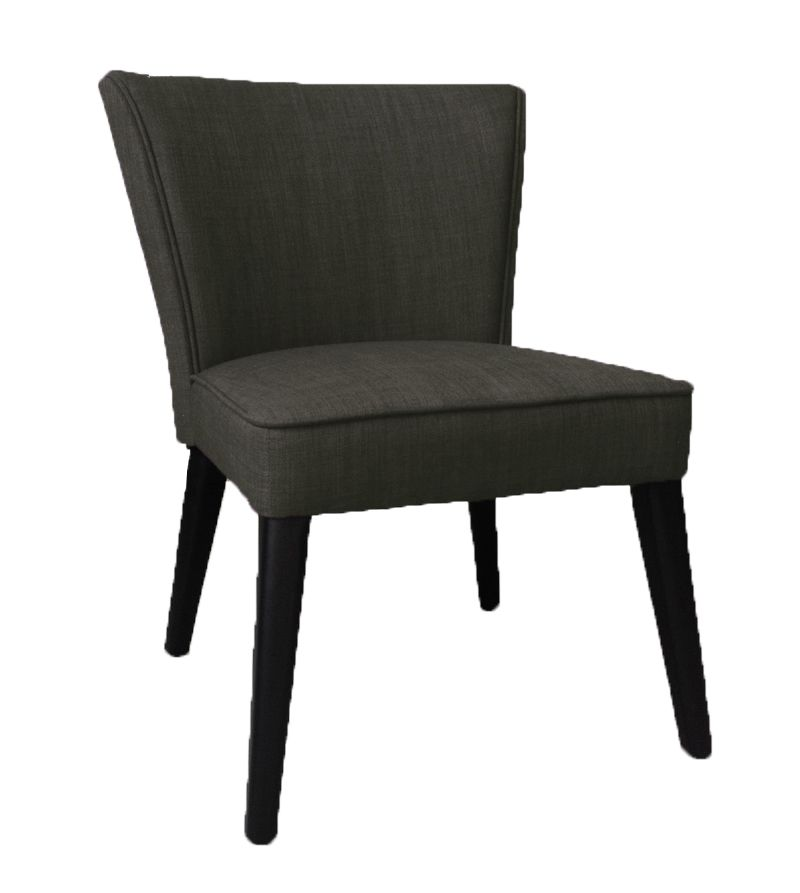Charcoal Grey Faux Linen Accent Chair