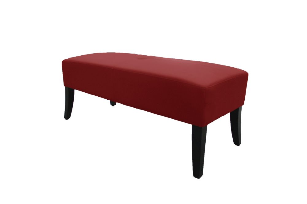 Crimson Red Bonded Leather Upholstered Bench