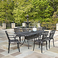 Largo 7-Piece Charcoal Rectangular Patio Dining Set with Arm Chairs
