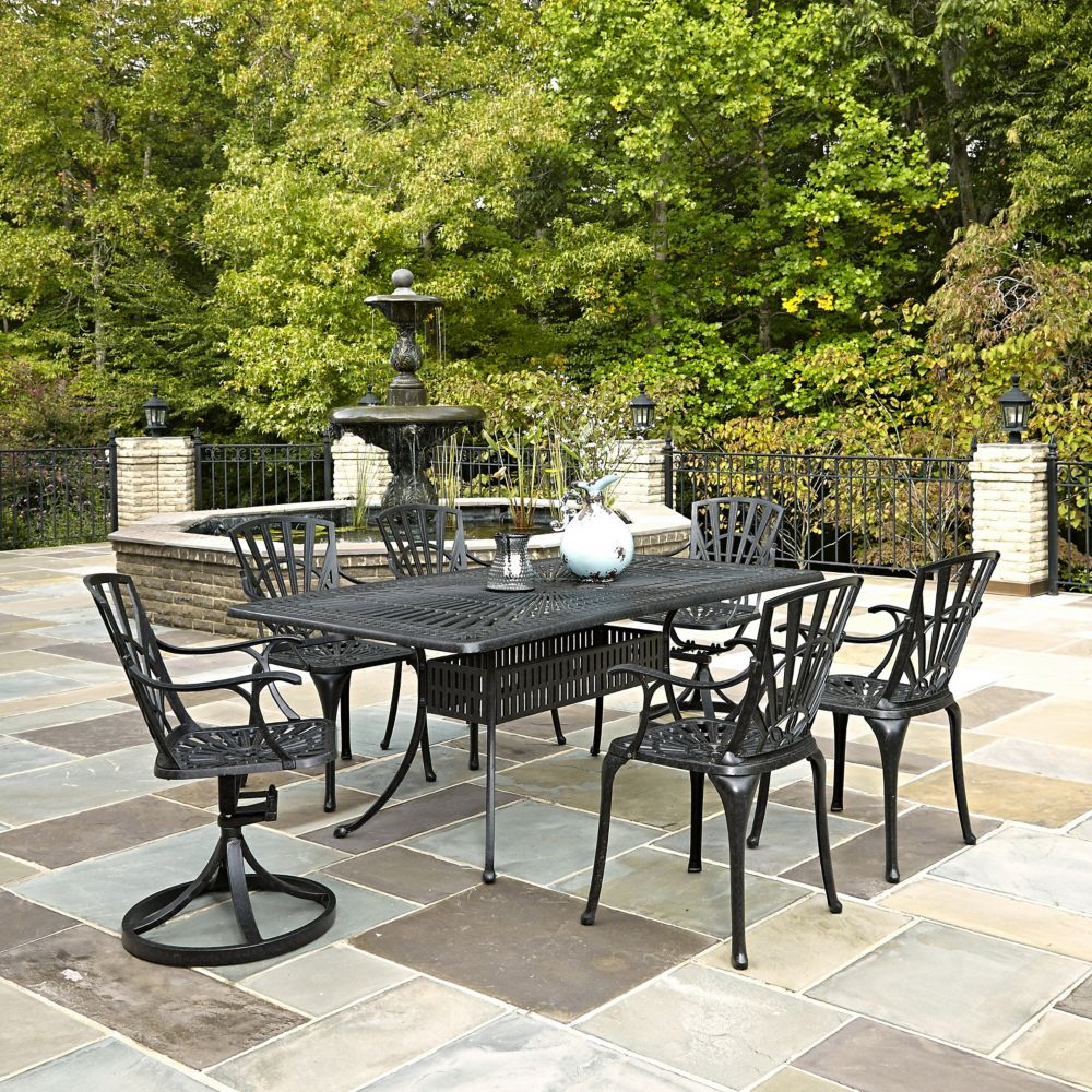 Largo 7 Piece Rectangular Patio Dining Set With Dining Chairs In Charcoal