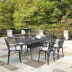 Largo 7-Piece Charcoal Rectangular Patio Dining Set with Cushioned Arm Chairs