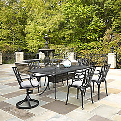 Home Styles Largo 7-Piece Rectangular Patio Dining Set with Cushioned Dining Chairs in Charcoal