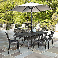 Largo 7-Piece Charcoal Rectangular Patio Dining Set with Arm Chairs & Umbrella