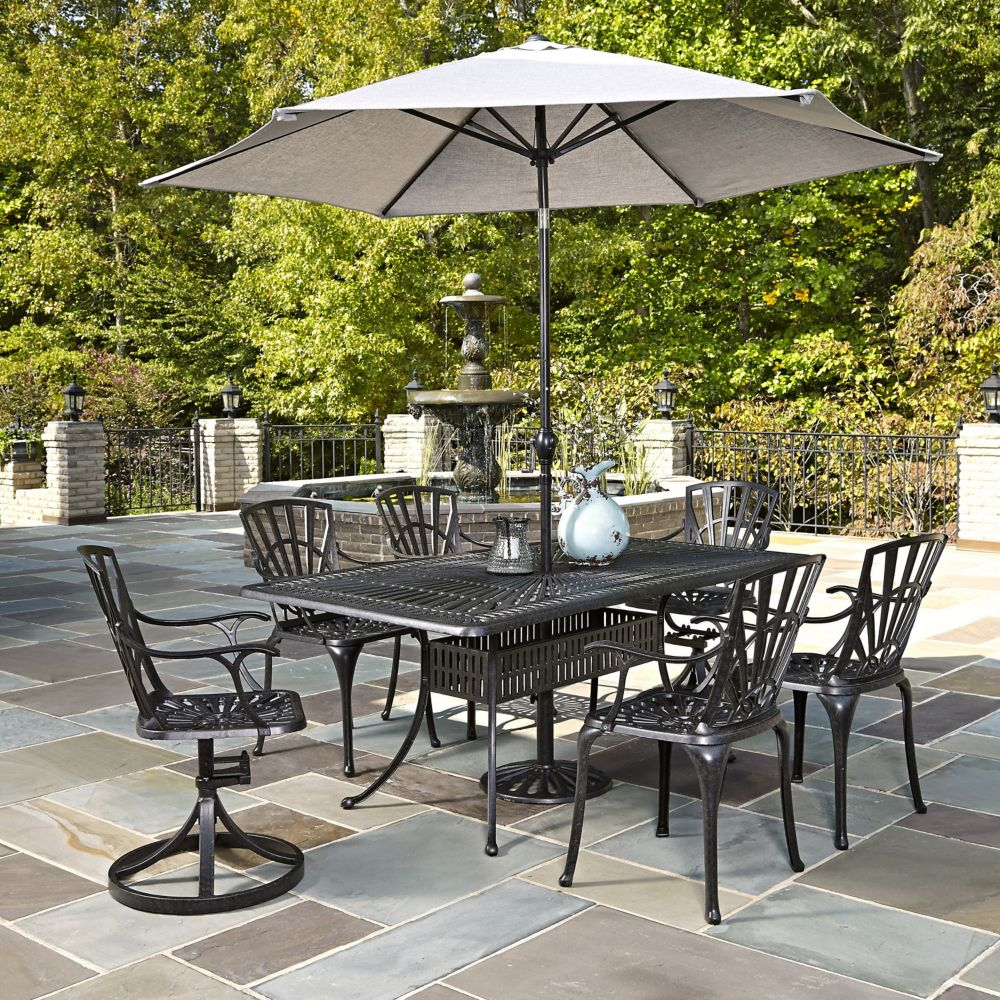 Home Styles Largo 7-Piece Rectangular Patio Dining Set with Dining Chairs & Umbrella in Charcoal
