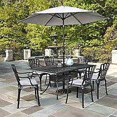 Largo 7PC Ensemble de salle à manger w/ parapluie et coussins