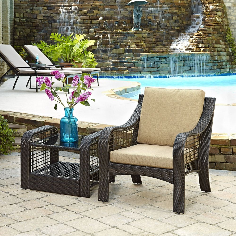 Lanai Breeze Collection Patio Accent Chair and End Table