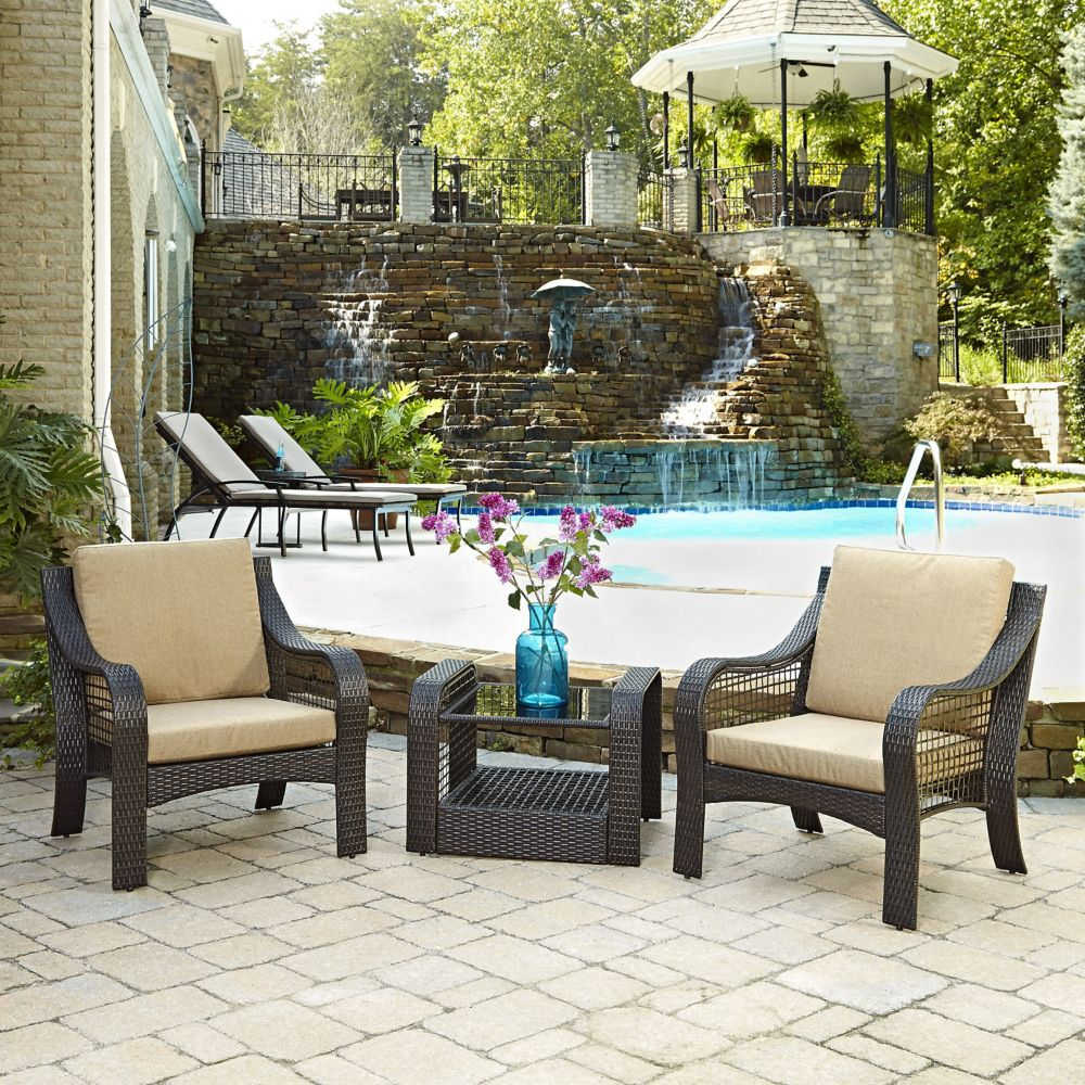 Two Lanai Breeze Collection Patio Accent Chairs and End Table